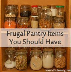 Frugal Pantry Items You Should Have via MrsJanuary.com #frugal