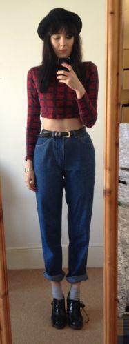 Vintage High Waist Denim Mom Fit Boyfriend Jeans 90S Grunge 10/12 Skinny Turn Up | eBay