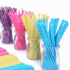 Colored Lollipop Sticks 100 count 6 inch (Blue, White, Purple, Yellow, Rose-red) (100) *** Click image to review more details.