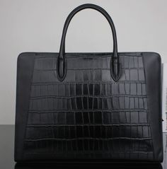 c76803eeec Crocodile Black Genuine Leather Casual Upscale Briefcase at PILAEO