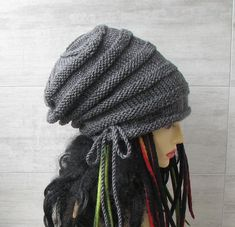 Dreadlocks Accessories long slouchy beanie Men Dread Hat, Grey
