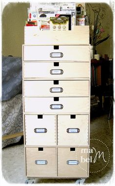 Craft organizer made from various Ikea storage boxes- Mabel Scraps Ikea Storage Boxes, Craft Room Storage, Diy Storage, Craft Rooms, Scrapbook Storage, Scrapbook Organization, Craft Organization, Sewing Rooms, Home And Deco
