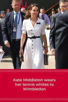 Kate Middleton looks tennis fresh in white for Wimbledon Kate Middleton Pictures, Kate Middleton Style, Royal Fashion, Fashion Looks, Tennis Whites, Trouser Suits, Wimbledon, White Outfits, Duchess Of Cambridge