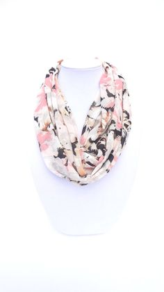 Floral Infinity Scarf Pink Black Scarf Summer by FashionelleStudio