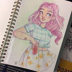 No photo description available. Cartoon Art Styles, Cartoon Drawings, Cool Drawings, Drawing Sketches, Life Drawing, Character Drawing, Character Design, Pop Art Girl, Art Inspiration Drawing