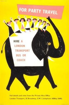 Elephant' poster designed by Victor Galbraith for London transport. Recent renovations at the Notting Hill gate tube station have uncovered these mid-century posters. The posters were located in a non-public area and date from c1956-1959 .