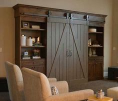 Barn doors в мебели для гостиной фото.