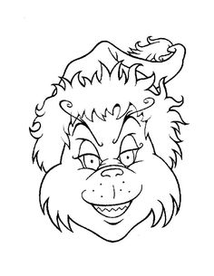 Grinch head coloring page - HOW THE GRINCH STOLE CHRISTMAS coloring pages
