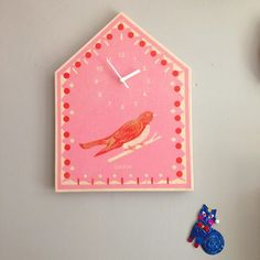Printed Cuckoo Clock by @theprintedpeanut #cuckoo #screenprint #print #design #home #decor #kids #nursery #baby #decor #walls #clock #handmade