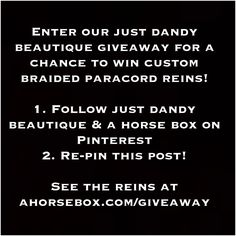 Don't miss our latest giveaway! Win a beautiful pair of custom braided paracord reins from @justdandybeau #equestrian #horse #tack