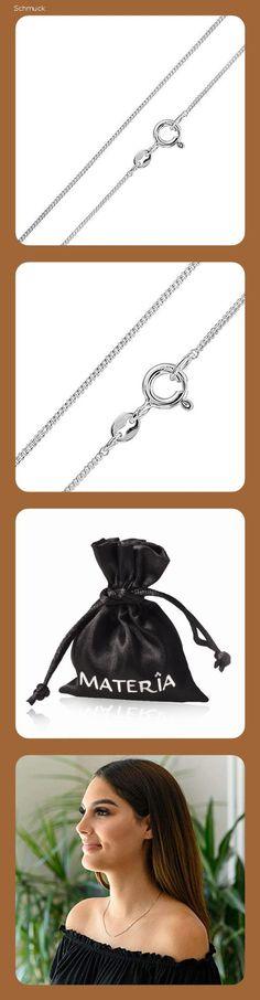 MATERIA Schmuck feine 925 Silber Panzerkette 1mm - Damen Halskette silber in 40-120 cm verfügbar #K32, Länge Halskette:40 cm - 14ah Panzer, Schmuck, Women's