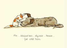 M112 AHA, BLOCKED EARS....DRY NOSE....HMMM....GET WELL SOON a Two Bad Mice card by anita Jeram