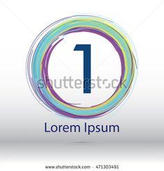 "cool color circle brush stroke ""1"" number logo"