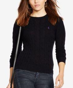 Polo Ralph Lauren Cable-knit Cotton Sweater In Polo Black Polo Sweater, Sweater Shop, Cotton Sweater, Cable Knit Sweaters, Black Sweaters, Cashmere Sweaters, Sweaters For Women, Crewneck Sweater, Ralph Lauren Blazer