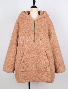 7f5601f2dd7ae Simplee Faux lambswool thick women jacket coat plus size Winter warm teddy coat  Hooded fur coat 2018 outerwear female overcoat