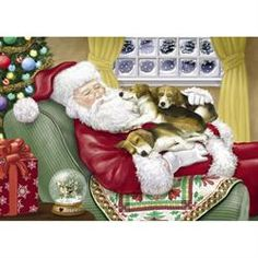 Beagle Christmas Cards - Napping Santa
