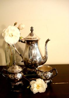 Silver on Copper Three Piece Coffee or Tea Set by ChaseVintage