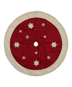 Love this Red & Cream Snowflakes Tree Skirt on #zulily! #zulilyfinds