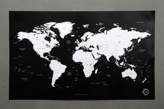 New Version World Map  Simple is the Best  White and Black world map poster   ○ material : paper  ○ size : 913 X 555 mm / 35.9 X 21.8 inch  ○