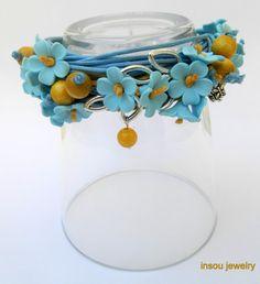 Forget me not  Light blue  Wrap bracelet  Boho by insoujewelry