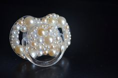 Champagne bubble Pacifier Binky Pearl pink ivory white baby gift on Etsy, $18.99