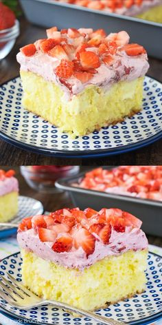 Strawberry Poke Cake Creamy lemon frosting pockets and a fluffy strawberry mousse make this such an easy and delicious cake for spring!Creamy lemon frosting pockets and a fluffy strawberry mousse make this such an easy and delicious cake for spring! Strawberry Poke Cakes, Strawberry Cake Recipes, Strawberry Ideas, Lemon Poke Cakes, Cake With Strawberries, Easy Lemon Cake, Coconut Poke Cakes, Strawberry Birthday Cake, Strawberry Pretzel