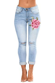 Skinny Jeans Floral Embroidery Embellished Jeans, Embroidered Jeans, Ripped Skinny Jeans, Super Skinny Jeans, Ripped Knees, Jeggings, Rose Jeans, Women's Jeans, Online Shopping Clothes