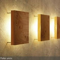 Modern wall lamp made of wood by uniic- Moderne Wandleuchte aus Holz von uniic Simple and modern wall light with backlit solid wood top. Wooden Lamp, Wooden Walls, Wooden Diy, Wall Wood, Home Lighting, Lighting Design, Wall Lighting, Modern Lighting, Corridor Lighting