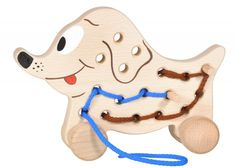 """Fädelspiel Hund """"Doggy"""" von HOBEA-Germany: Schiebetier und Fädelspiel in einem. Hier kann nach Herzenslust gefädelt werden. So schulen die Kinder spielerisch die Augen-Hand-Koordination und ihre Feinmotorik.  HOBEA Spielzeug Holzspielzeug Hund Fädeln Babyspielzeug Kleinkind Spielwaren"""