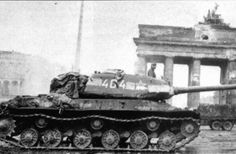 A Soviet IS-2 (Joseph Stalin-2) heavy tank sits in front of the Brandenburg Gate. The white stripe along the turret is for quick identification of a friendly vehicle by the Soviet Air Force (VVS). Berlin, Germany. May 1945.