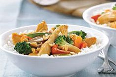 Easy Chicken Stir-Fry Skillet recipe--    I love, love,love the recipes from Kraft Kitchens! Made this the other night and it is delicious, not to mention healthy. I recommend doctoring up the recipe with some red pepper flakes for a little heat (if not in the recipe itself, place it on the table as a condiment)  and maybe a garlic clove or two. I used white rice but brown rice could also be used to up the healthy factor.