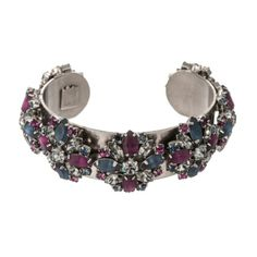 Dannijo Amanda Silver Plated Brass Bracelet With Crystal Accents