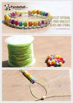 DIY Iridescent Bracelet Tutorial - Make Iridescent Bracelet out of Beads and String from pandahall.com