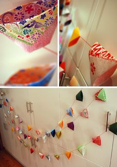 the red thread: DIY Affordable Art - Part Origami Origami Cup, Origami Garland, Origami Fish, Diy Garland, Diy Origami, Origami Paper, Origami Ideas, Cute Crafts, Diy Crafts