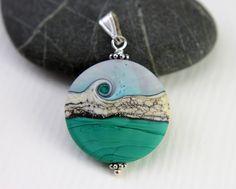 Teal Green Turquoise Focal Glass Bead Pendant, Matt Lentil Bead, Sterling…