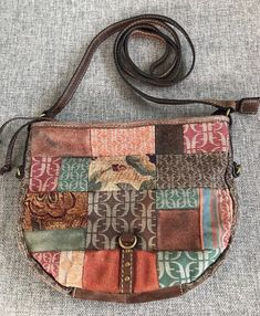 Fossil Patchwork Suede Canvas Fabric Shoulder Bag Crossbody Purse Small  Boho  Fossil  Crossbody Small d3281bb48b4b8