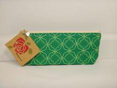 Green Pencil Case Pencil Pouch Makeup Bag Travel by BallyandLis