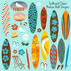 A collection of surfboards and beach motifs including seagulls, sunglasses, tropical flowers, and a straw hat.