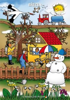 Březen Month Weather, Weather For Kids, Weather Seasons, Seasons Of The Year, Four Seasons, Diy And Crafts, Crafts For Kids, Writing Pictures, Picture Composition