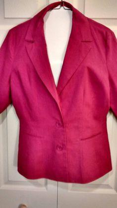 $3.99 @Ebay   NEWPORT NEWS Ladies Size 12 Fuschia Linen/Cotton Long Sleeve Dress Blazer #NewportNews #Blazer