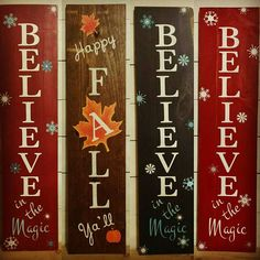 Reversible Holiday Sign Reversible Fall Winter Happy Fall Yall Believe Farmhouse Decor Fall Porch Decor Christmas Porch Decor Rustic Fall Crafts, Holiday Crafts, Crafts To Make, Diy Crafts, Crafts That Sell, Design Crafts, Holiday Signs, Christmas Signs, Rustic Signs