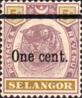 Selangor 1900 Surcharged Tiger Fine Mint SG 66a Scott 42 Other Asian and British Commonwealth Stamps HERE!