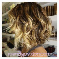 #cute #ombre bob w/mermaid waves. ~wendyosalon.com~ #hair #fashion #color #beauty #beautiful