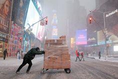Times Square, cubierto de nieve