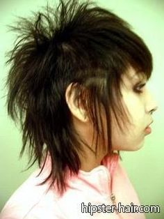 brown long fashion mullet spiked buzzed teased hair