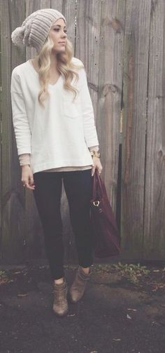 #winter #fashion / beanie + white knit