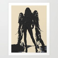 #Angel of Death- #Sexy #Art Giclee Print - Angel of Death, dark stencil artwork, sexy demonic creature, unique sexy conte art style print. Perfect girl in seducing pose, sensu... #style #design #prints #adult #demonic #girl #winged #wings