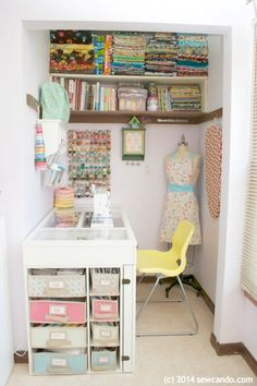 Are you trying to find perfect craft storage ideas to steal? These Craft Room Organization ideas are going to give you a perfectly organized space with ALL of your supplies to hand. This small space sewing room is to die for. Not to mention the fact that it's pastel. It's a beautiful small space craft room & the storage craft desk is awesome. I love all the sections to store supplies & glass top so you can see #sewingroom #craftroom #craftstorage #storage #homeoffice #sewing #craftstudio…