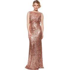 No. 1 Jenny Packham Designer Rose Gold Natural Sequin Maxi Dress - 16