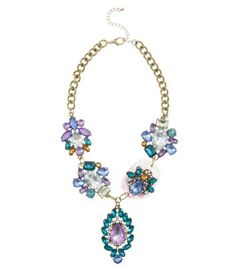 Blue and Purple Multi Gem Necklace - new look